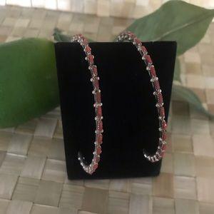 Authentic Native American Coral Hoop Earrings
